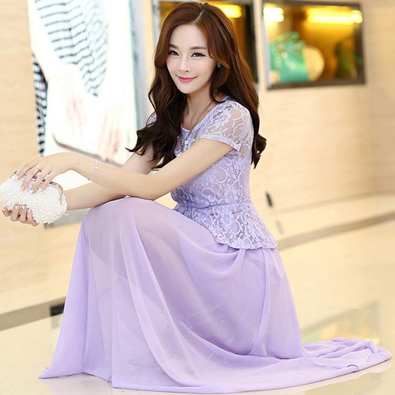 S-XXL Womens Light Blue White Pink Black Purple Long Party Dress Ladies Summer Casual Lace Chiffon Maxi Dress For Women 2015(China (Mainland))