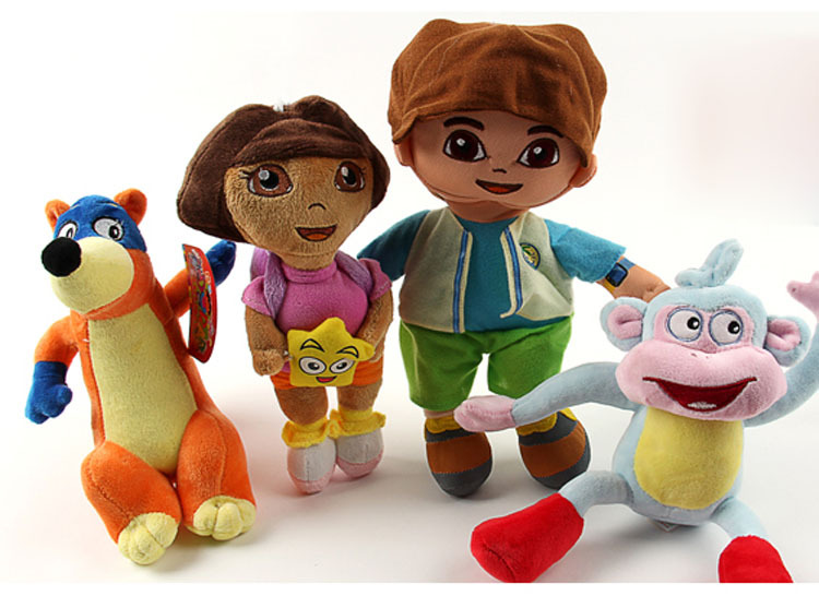 4pcs/set Dora the Explorer plush boots plush Monkey plush Swiper Fox Go Diego Go dolls have stock(China (Mainland))