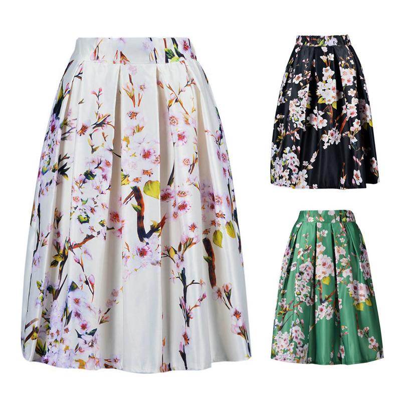 Sakura Floral Print High Waist Pleated Long Midi Skater Skirt 3 Colors White/Green/Black Stock Quickly Ship#LT296 - Ningbo Good times Trading Co. Ltd store