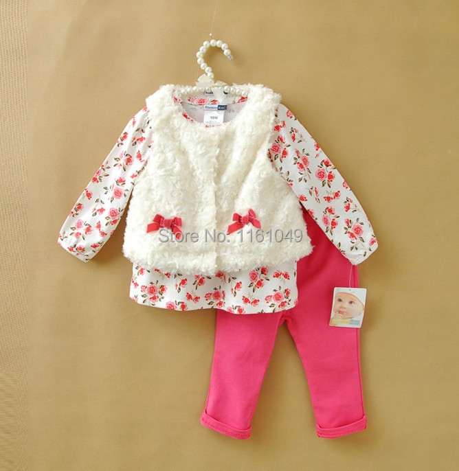 new arrival autumn winter 2015 fashion children baby kids bebe bib clothing clothes sets for girls outfits 3 pieces retail(China (Mainland))