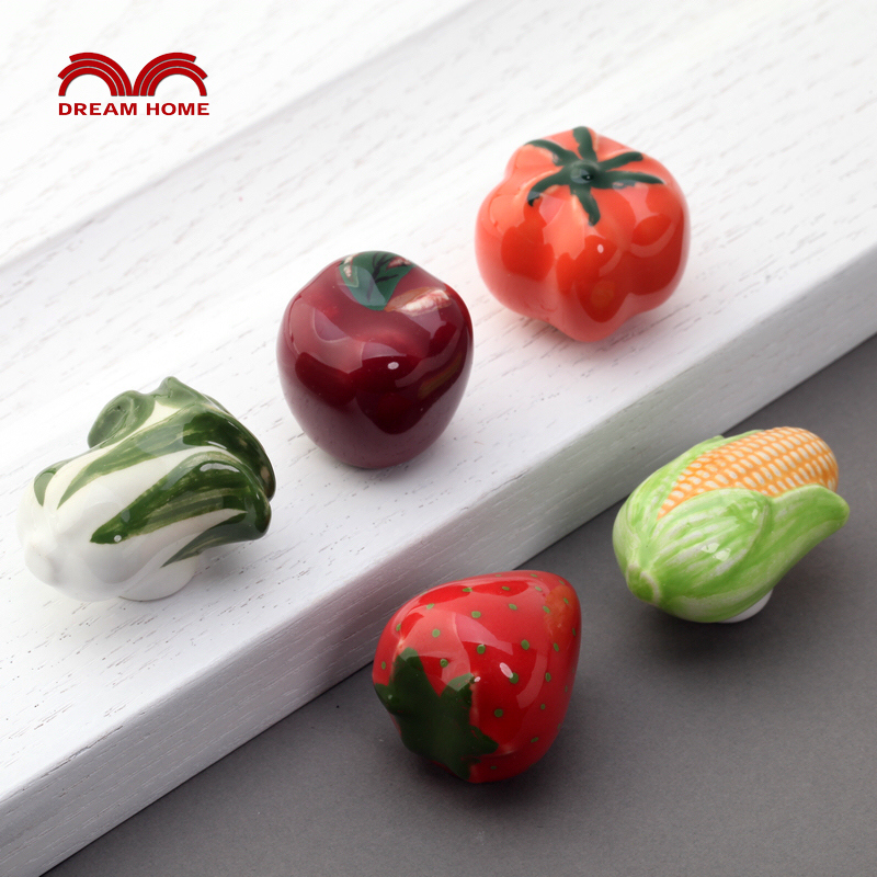Children's Room Furniture Drawer Knobs and Handles Fruits and Vegetables Drawer Clothing Shoe Cabinet Door Pull Ceramic Field(China (Mainland))