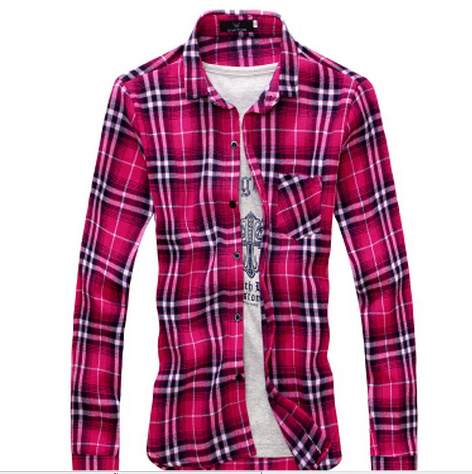 Flannel men s plaid shirt fall 2015 ultra thin luxury for Mens warm flannel shirts