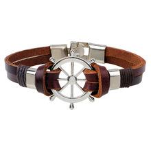 Buy Sea Navigation Rudder Anchor Bracelet Men Punk Rock Wrap Leather Bracelet Friendship Bracelets Woman Men Jewelry for $1.09 in AliExpress store
