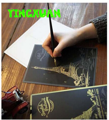 4 Postcards /set 20*14cm Magic Night View Scratch Art Paper Scraping Drawing Pictures for Children Parthenon Temple Eiffel Ver.2(China (Mainland))
