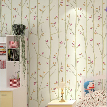 Tree colourful leaves mural wallpaper roll for kids room for Child mural wallpaper
