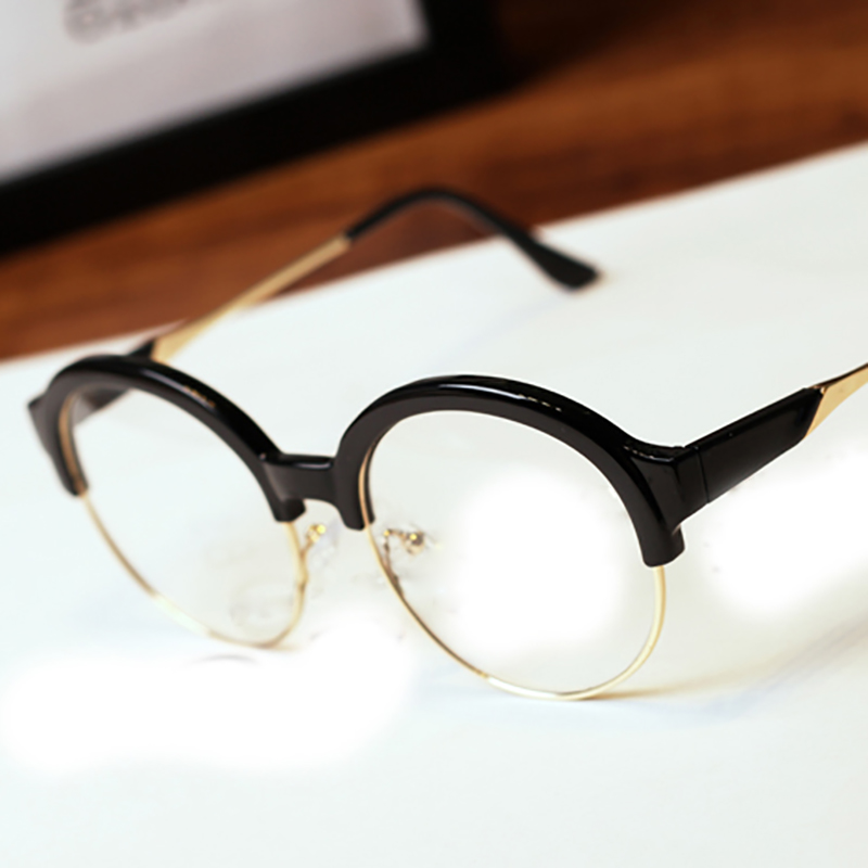 Free shipping 2016 retro Round glasses half frame ...