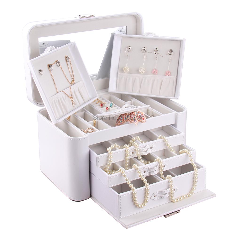 Extra White Large Jewelry Box Organizer Rings Earring Necklace Bracelet Storage Box Faux Leather ZG149(China (Mainland))