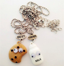 Free shipping Best Friends BFF pendant bead chain necklace fastfood milk cookie biscuit kids jewelry lead nickel free