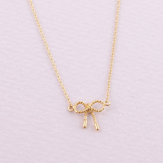 2014Fashion 18k Gold silver plated Little Twist Bow necklace Pendant Necklace for women gift Free Shipping Wholesale<br><br>Aliexpress