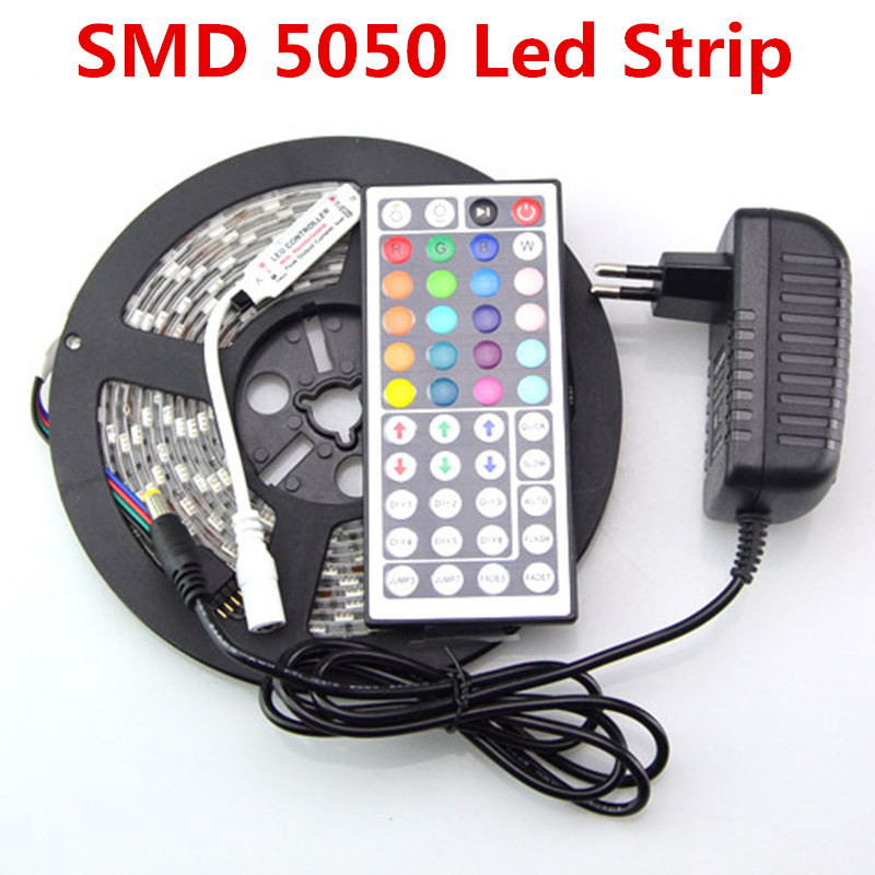 RGB LED Strip 5050 SMD Non-Waterproof 300 Led Flexible Fita Led String Light Ribbon 44 Key IR Remote DC 12V 3A Power Supply(China (Mainland))