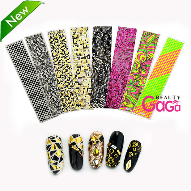 Beauty Nail Art 10 unique designs /lot adesivos personal & salon minx nail art decals Fingernail tattoo Stickers on nail(China (Mainland))