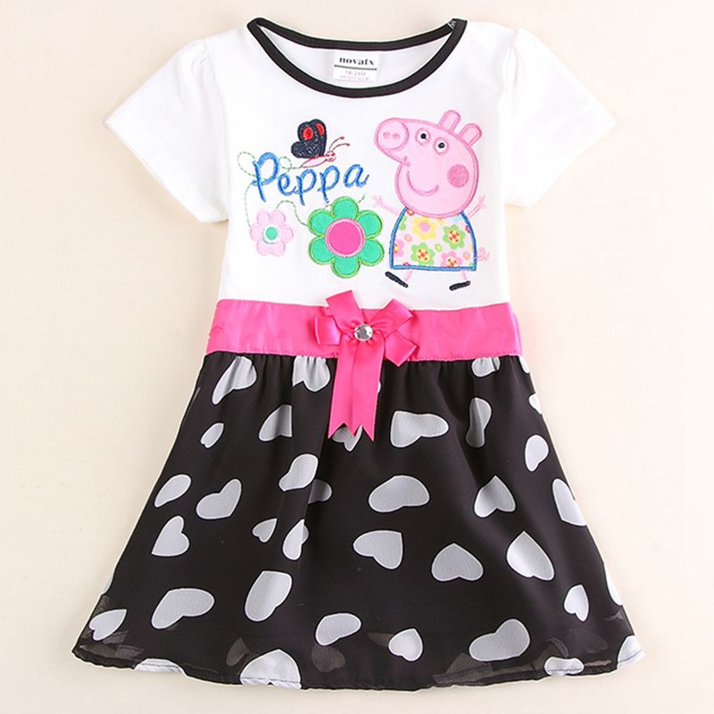 girls clothes girls princess party ball grow dress embroidery cartoon pig fashion lace dress for babies kids nova 2-6Y dresses(China (Mainland))