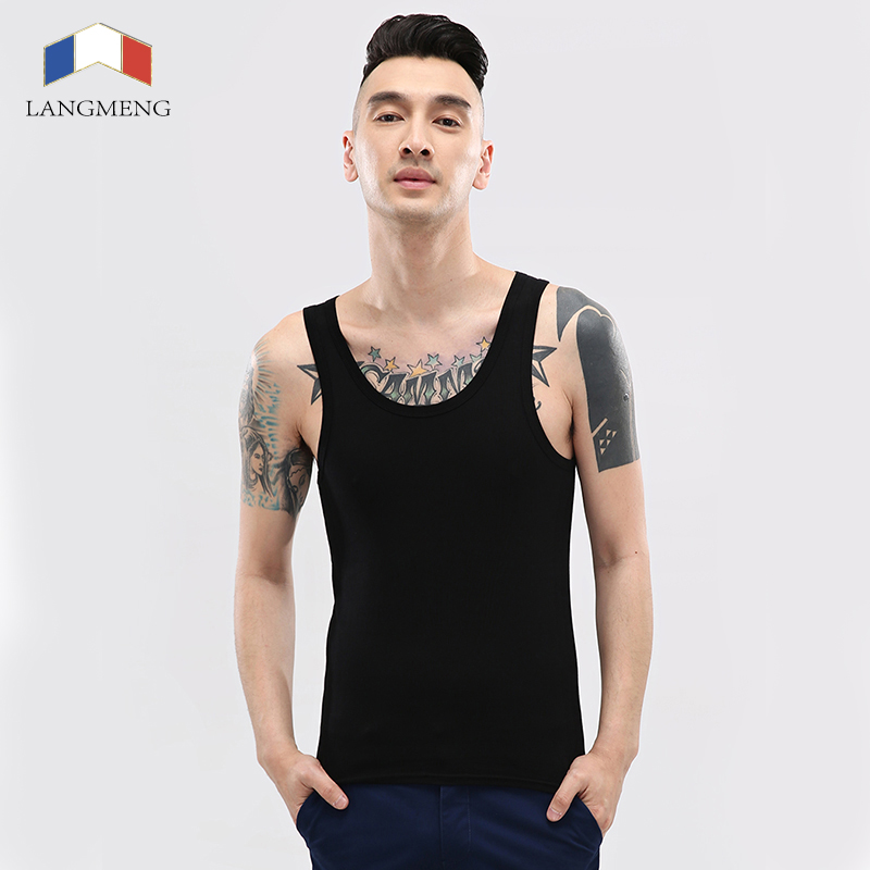 LANGMENG New Brand Mens Sports Singlet Cotton Tank Tops Sleeveless Undershirts Male Bodybuilding Casual Summer Vest 7 Colors(China (Mainland))