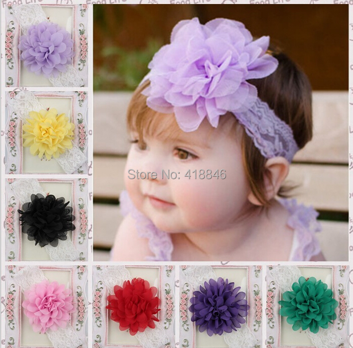 2015 Free Shipping Lovely Mix 20pcs Infant Kids Girl Summer Flower Elastic Headwear.10cm Chiffon Lace Band Baby Floral Headband.(China (Mainland))