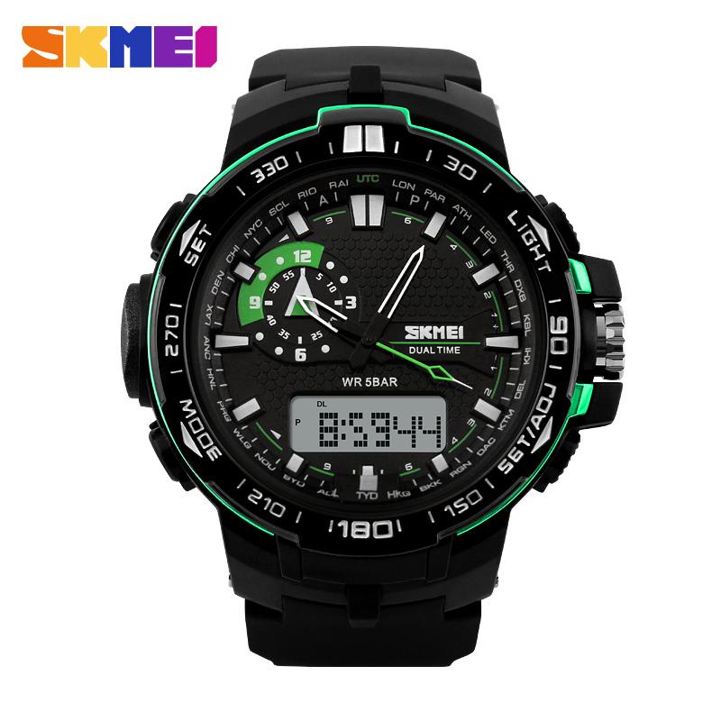 2016 New SKMEI Relogios Masculinos Luxury Brand Backlight Digital Display Date Alarm 2 colors 50M Waterproof Sports Watches Men<br><br>Aliexpress