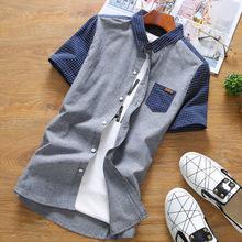 Men's Shirts discounts Summer new men's lapel stitching Slim casual cotton shirt youth short-sleeved shirt Men clothing(China (Mainland))