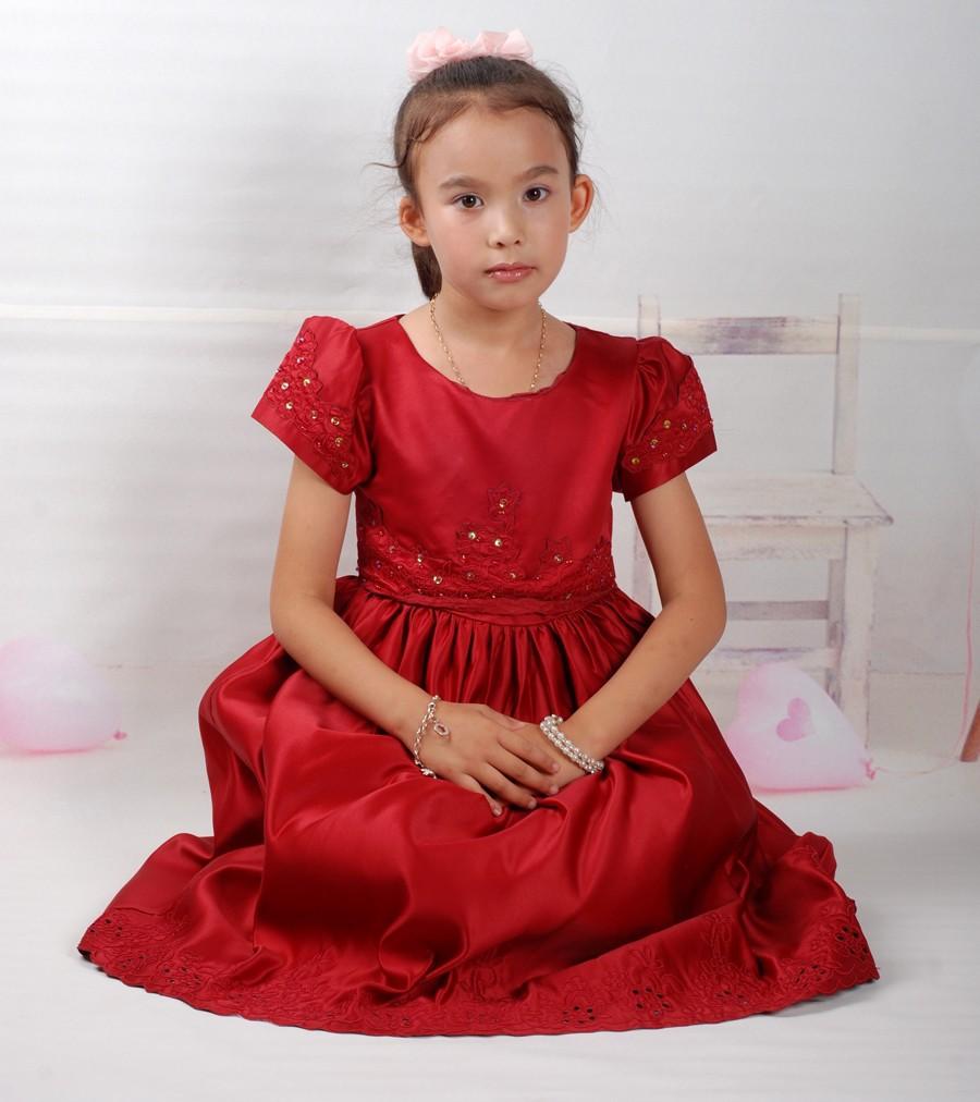 High grade girls Satin Dress Baby Girls Christening Wedding Party Pageant Dress 18 Months-10 Years nice satin christmas gift(China (Mainland))