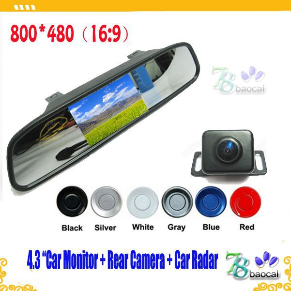 "3in1 Security cameras for universal reverse parking sensors black camera 4.3"" car monitors rear view camera Automobile carmeras(China (Mainland))"