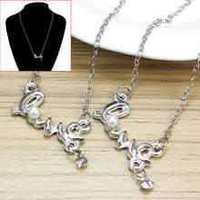 2016 New 2pcs Trendy Women Jewelry Silver Love Letter Rhinestone Pendant Chain Necklaces(China (Mainland))