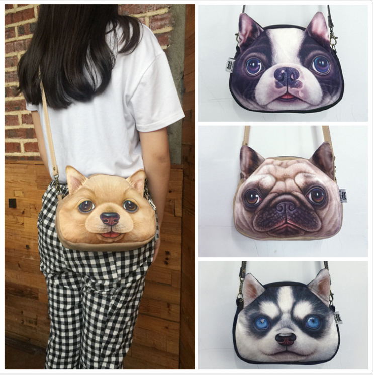 New 3D printing Dog Face Fashion makeup,cosmetic bag gifts Cross Body Imitation leather Shoulder Bag for women Messenger Bags(China (Mainland))