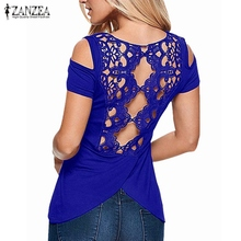 Buy 2017 Summer Sexy Blusas Retro Lace Short Sleeve Hollow Backless Shoulder Tee Tops Solid Blouse Shirt ZANZEA Women Plus Size for $7.01 in AliExpress store