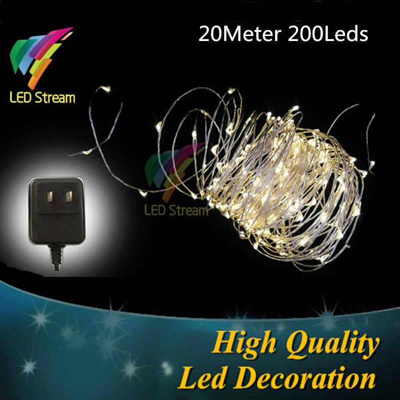 Warm white led String 66FT US Plug 100-240Vac Silver Copper Wire String Fairy Lights 20M 200 Led UL Adapter Holiday Lighting(China (Mainland))