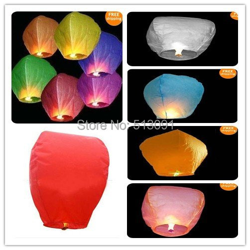 Wholesale 300pcs/lot Sky Lanterns Balloon Festival Wish Night Lights,Free Shipping(China (Mainland))
