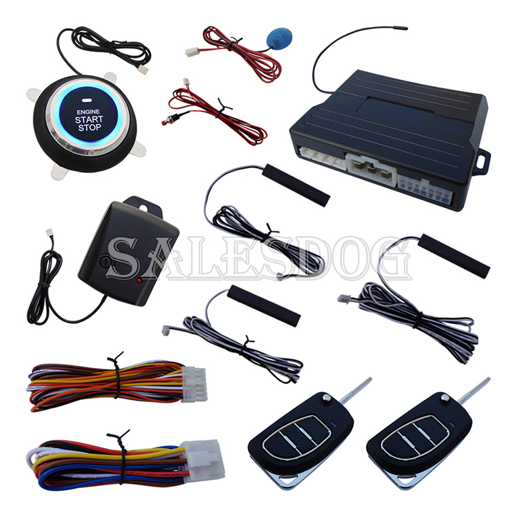 New Smart Car Alarm System Passive Keyless Entry Auto Lock & Unlock Ignition Button Start Rolling Code With Shock Sensor(China (Mainland))