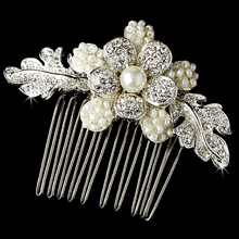 12pcs/lot Crystal Rhinestone inset Faux Pearl Hair comb