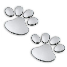 2pcs/ Lot Stylish Silver Funny Bear Paw Pet Animal Footprint Emblem 3D Cartoon Car Stickers Decor Auto Accessories Free Shipping(China (Mainland))