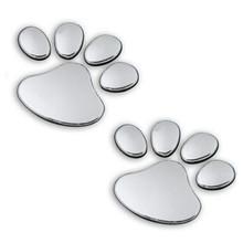 2pcs/ Lot Stylish Silver Funny Bear Paw Pet Animal Footprint Emblem 3D Cartoon Car Stickers Decor Auto Accessories Free Shipping(China (Mainland))