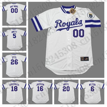 Retro GEORGE BRETT WILSONI WILLIE FRANK WHITE jersey BO JACKSON BRET SABERHAGEN jersey Throwback AMOS OTIS Mens Stitched jerseys(China (Mainland))