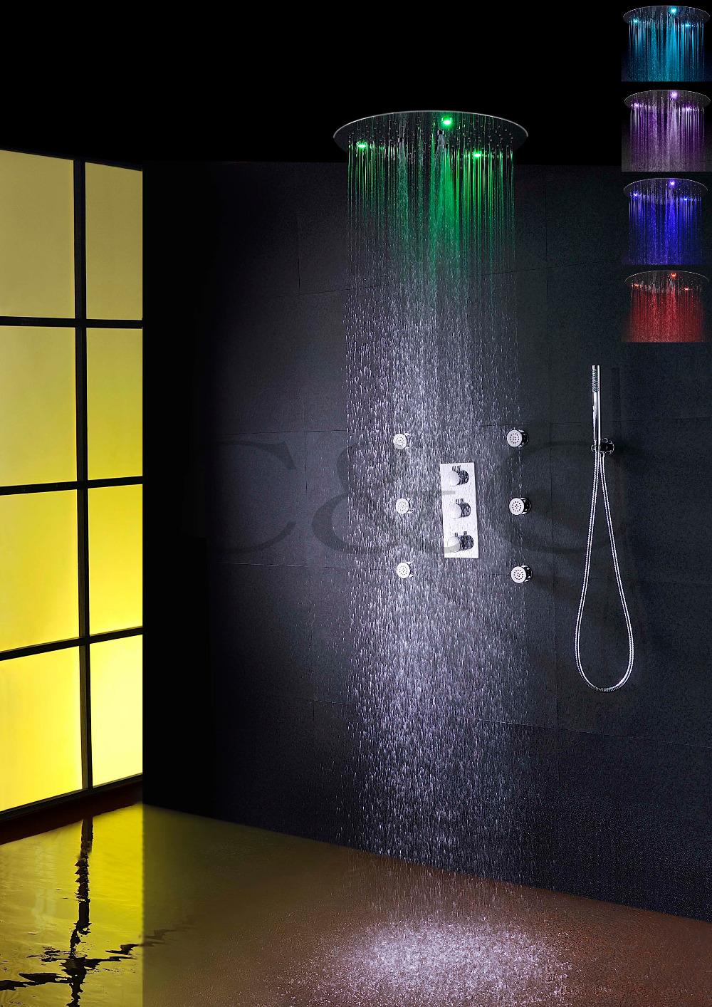 Round Thermostatic Bathroom Shower Faucet Set 20 Inch 7 Colors 100V~240V AC Spraying Rain LED Head - C&C Sanitary Ware Co., Ltd. store