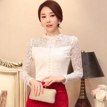 Plus Size Women Blouses Shirt Long Sleeve Mandarin Collar Black/White Lace Blouse Autumn Clothing