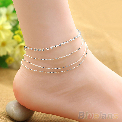 Chic Women's 4 Layers Crystal Beads Sandal Beach Anklet Ankle Chain Foot Jewelry 2KSS(China (Mainland))