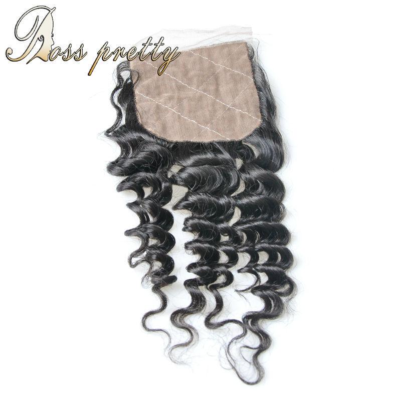 Brazilian Deep wave Silk Base Closure 7A Wholesale Best Unprocessed human hair Brazilian Virgin Hair deep wave closure silk base<br><br>Aliexpress