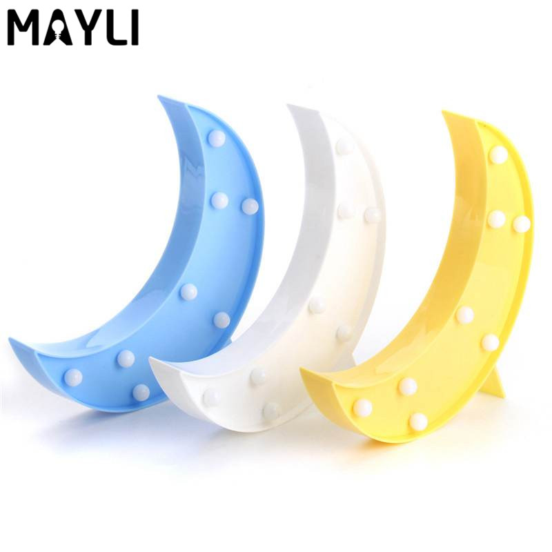 Mayli Cute Moon LED Night Light Lamp Cordless Battery Power Night Lamps For Bedroom Baby Kids Home Decor DC3V(China (Mainland))