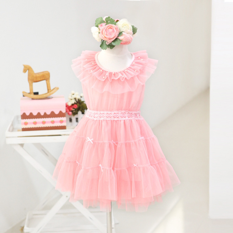 girl dress Children's clothing New 2014 baby girls Pearl Gauze Bow Sleeveless Party Dresses - Xin Mother's Store store