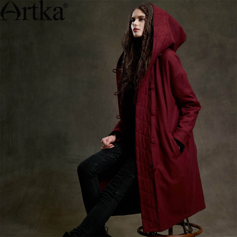 Artka Womens 2015 Autumn Vintage Long Section Plate Buttons Overcoat Long-Sleeved Woolen Comfortable Overcoat MA15159DОдежда и ак�е��уары<br><br><br>Aliexpress