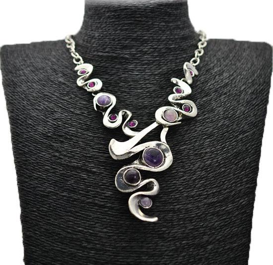 Vintage Retro Jewellery antique Tibetan Silver alloy Amethyst Pendant Necklace The unique design women dress N104