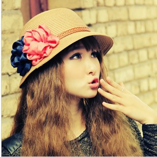2015 new Korean female flowers Sun Hat Visor tourism eaves sun hat factory wholesale(China (Mainland))