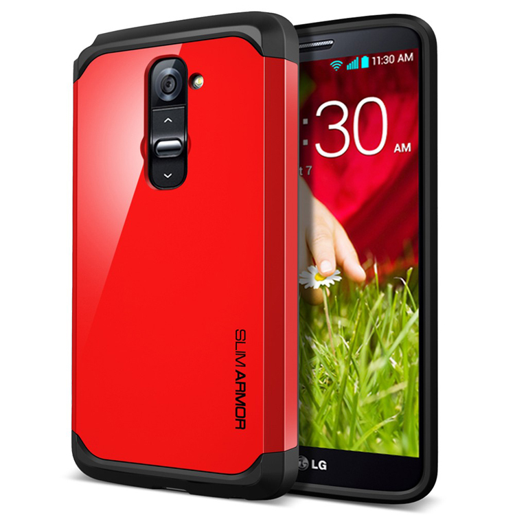 New Multi-color Slim Armor Cell Phone Case For LG G2 TPU Soft Cover Two Layer Capa De Celular Case For LG Cheap Wholesale(China (Mainland))