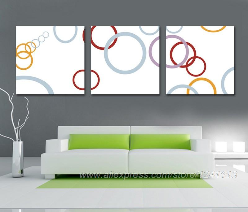 Abstract Round Series Reproduction Print On Canvas Decorative Modern Wall Panels Abstract bedroom Background 3 set High Quality(China (Mainland))