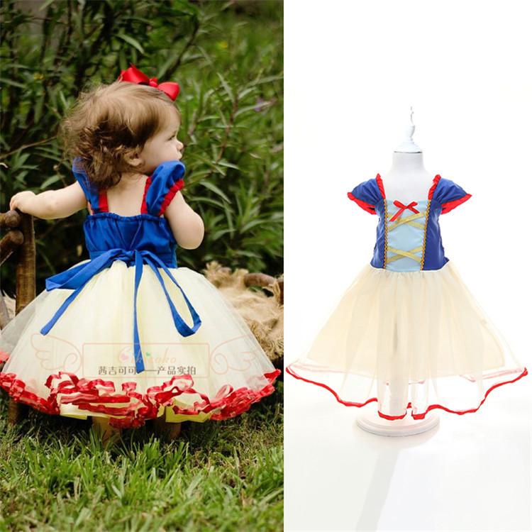 2015 Summer baby girls Cartoon Snow White dresses New kids casual tutu dress Children's fashion party dress girl princess wear(China (Mainland))