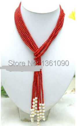 "bjc 000790 SALE Long 45"" Natural 3 Strands Red round Coral & White Pearl Necklace(China (Mainland))"