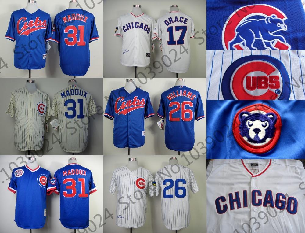 31 Greg Maddux Jersey Chicago Cubs Cream Pinstripe Blue 26 Billy Williams Jersey 1994 Turn Back 17 Mark Grace Jersey White Shop(China (Mainland))
