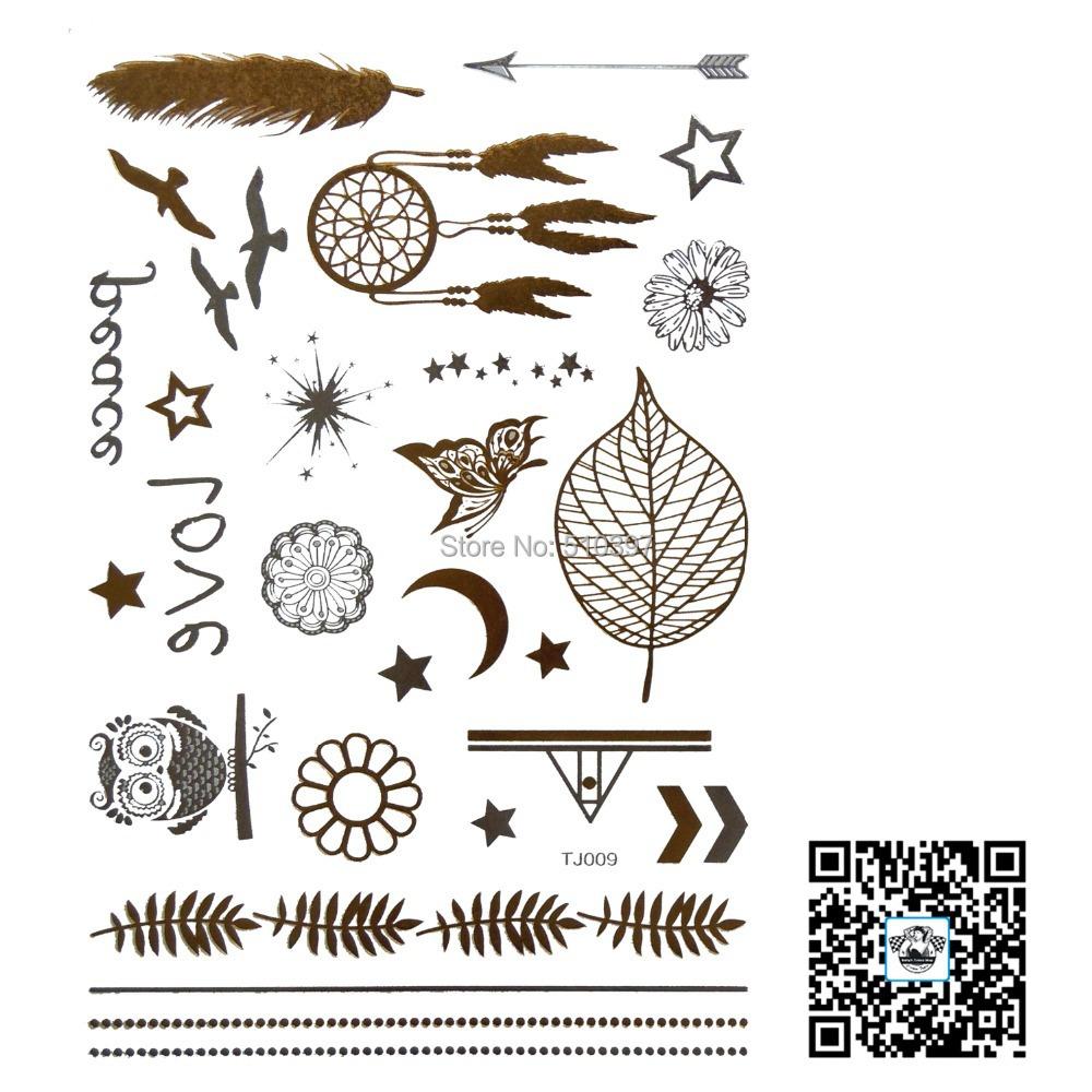 1pc/lot/TJ009,Temporary Glitter Tattoo/Leaf,Butterfly,flower,bird/waterproof Gold Flash fake tatoo sticker/Unique Christmas gift - Betty's Tattoo Sticker store