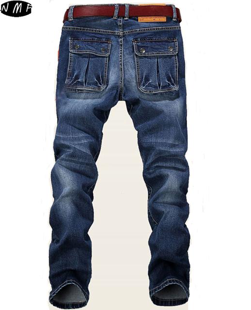 2016 новый Большой Плюс Размер 42 44 46 48 Синий Упругие Мужчины джинсы Slim Fit ...