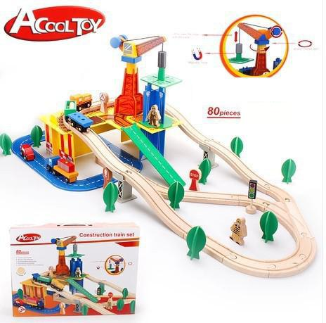 Diecasts Toy Vehicles Kids Toys wooden puzzle Building Acool toy 80pcs transportation Thomas train track set compatible(China (Mainland))