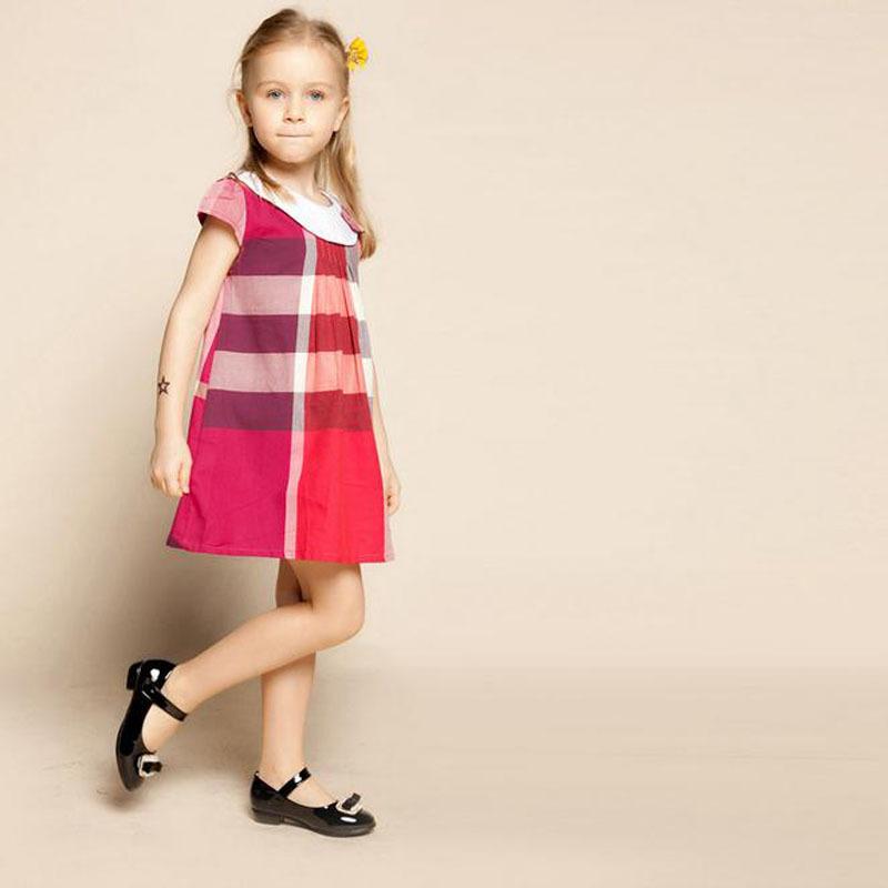 Hot sale 2-6yrs Girls dress High quality Summer children dresses girl's grid dress kids wear fashion(China (Mainland))